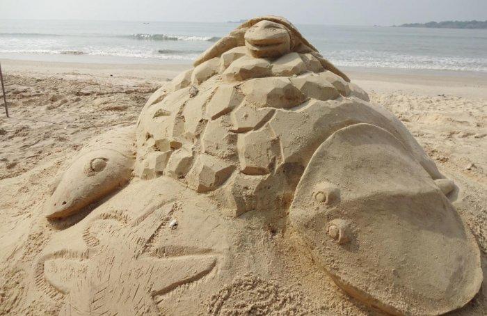 A sand sculpture on Padukere beach.