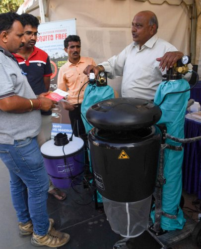 A view of the exhibition at the practices in the areas of Water, Energy, SWM, Safety, Apartment Management & contribution through Civic Engagement & Community Welfare at BAMBOOS 2019. organised by Bangalore apartments Fedaration( BAF) at Freedom Park, in Bengaluru on Sunday. Photo/ B H Shivakumar