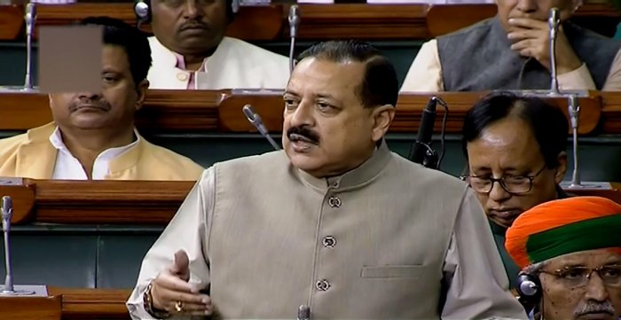 Union Minister Jitendra Singh speaks in the Lok Sabha during the Winter Session of Parliament, in New Delhi, Wednesday, Nov. 27, 2019. (PTI Photo)