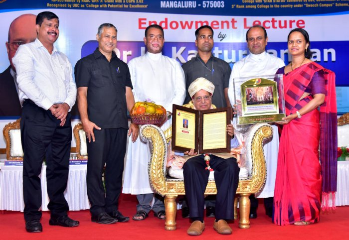 ISRO former chairman Dr K Kasturirangan was felicitated at an endowment lecture programme at St Aloysius College in Mangaluru on Wednesday.