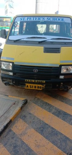The school bus that allegedly crushed five-year-old Deekshith to death on Monday. SPECIAL ARRANGEMENT