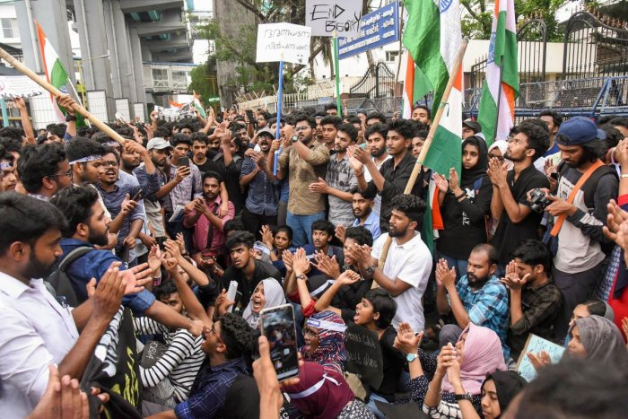 Kochi: Students shout slogans during a protest against the Citizenship Amendment Act (CAA), outside Reserve Bank of India in Kochi, Wednesday, Dec. 18, 2019. (PTI Photo)