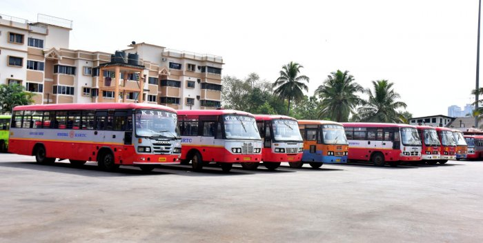 KSRTC buses parked at the bus stand at Bejai in Mangaluru.
