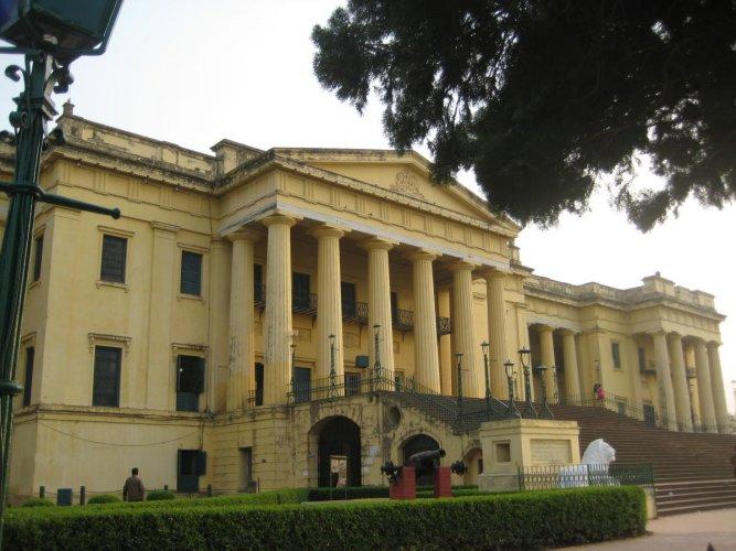 The front facade of the Hazar Duari Palace in Murshidabad.