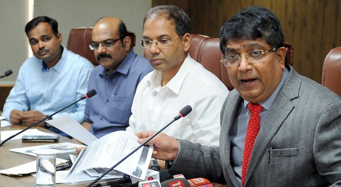 City police chief Bhaskar Rao and other officials at a press conference on cybercrimes on Friday. DH PHOTO/PUSHKAR V