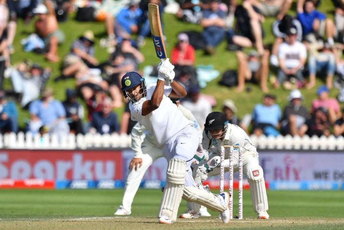 India's Mayank Agarwal plays a shot during day three of the first Test cricket match between New Zealand and India at the Basin Reserve in Wellington on February 23, 2020. (Photo by AFP)