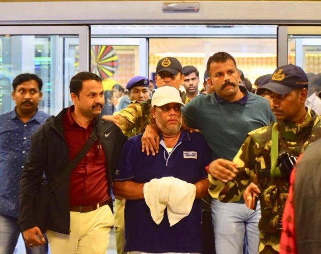 Ravi Pujari at Bengaluru airport on Monday. DH PHOTO
