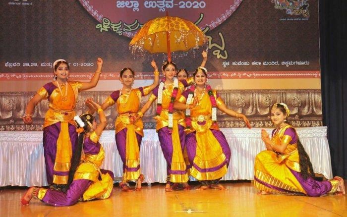 Artistes from Nadabrahma team of Koppa present a dance during Nrithyotsava held at Chikkamagaluru.