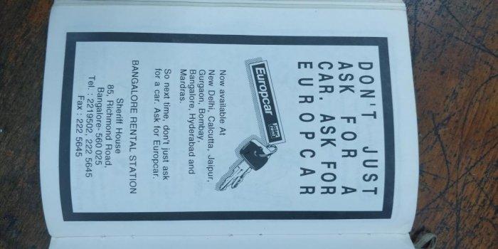 An advertisement in 'Bangalore: an explorer's sourcebook'.