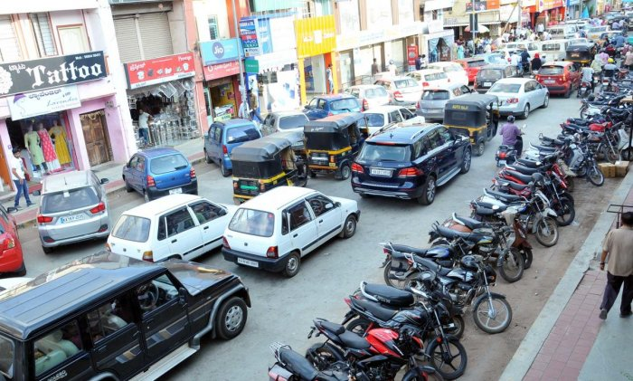 Heavy vehicular movement was seen on MG Road in Chikkamagaluru on Monday.