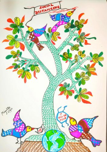 Social distancing is shown through Gond art. Illustrations by author