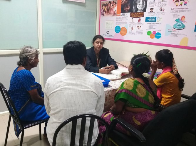 A counselling session before the lockdown, at the Parihar office in Bengaluru.