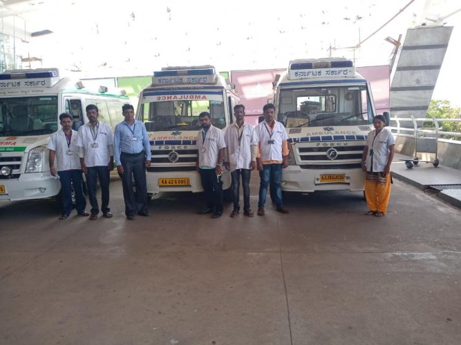 Special Covid-19 ambulances and their staffers at Mangalore International Airport.