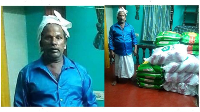 Farm labourer Abdurrahman of Goodinabali in Bantwal taluk, with the food grains to be disbursed to the needy.