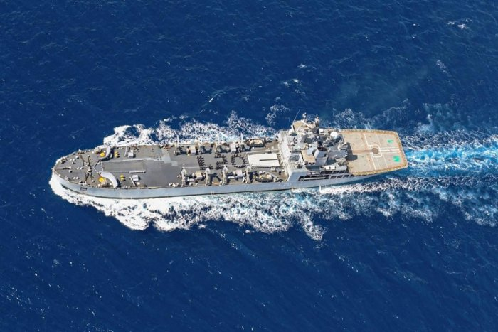 Indian Navy ship INS Magar arrive to bring nearly 200 stranded Indian nationals home amid the coronavirus pandemic under 'Vande Bharat' mission, at Male in Maldives. (PTI Photo)