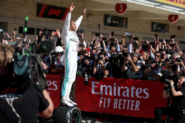 Formula One World Drivers Champion Lewis Hamilton of Great Britain and Mercedes GP celebrates in parc ferme during the F1 Grand Prix of USA at Circuit of The Americas on November 03, 2019. AFP Photo