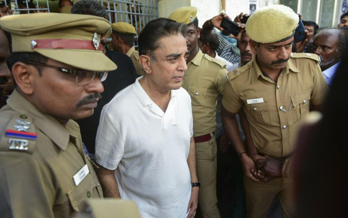 Actor-politician and Makkal Needhi Maiam founder Kamal Haasan comes out of a mortuary after paying homage to three of the victims, who died after a crane crashed on the sets of upcoming film 'Indian 2', in Chennai. PTI