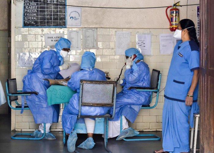 Medics outside an isolation ward of the novel coronavirus (COVID-19) at a hospital in Hyderabad, Friday, March 13, 2020. (PTI Photo)