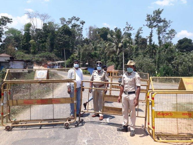 Kondangeri road in Virajpet has been closed, following the confirmation of Covid-19 case from Kuttimotte village in Virajpet taluk of Kodagu.