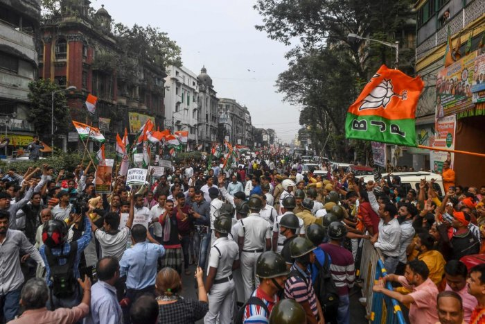 The incident took place when a protest march of the Congress workers against the spread of dengue and the rising number of deaths due to it in the city. The Congress procession was passing by the state BJP headquarters in Central Kolkata. Photo/AFP