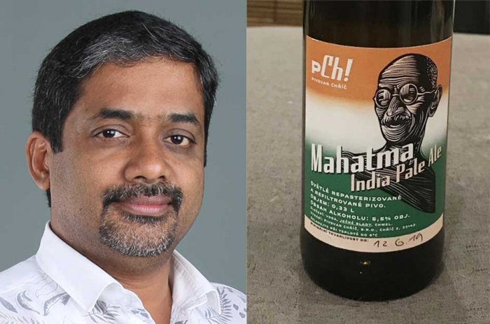 Mahatma Gandhi National Foundation chairman Eby J Jose and (R) a bottle of the Mahatma beer