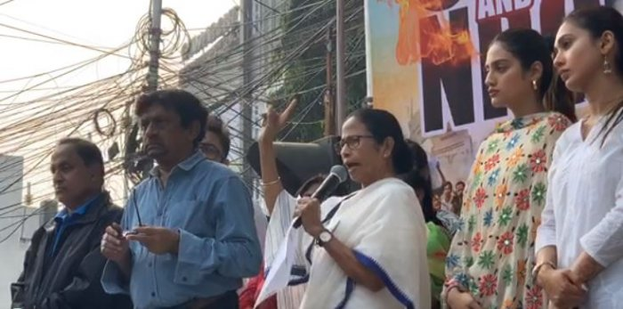 """Banerjee, who is also the TMC supremo, claimed that the Centre has stopped railway services in the state over """"one or two minor incidents"""" of violence. Photo/Twitter (@AITCofficial)"""