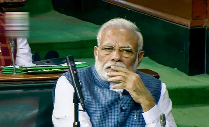 Prime Minister Narendra Modi in the Lok Sabha during the Budget Session of Parliament, in New Delhi, Tuesday, Feb. 11, 2020. (PTI Photo)