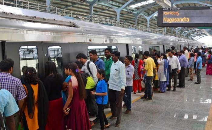 Bangalore Metro Rail Corporation Limited (BMRCL) said on Saturday that the number for Friday was higher than the previous record of 4.53 lakh August 14. (DH File Photo)