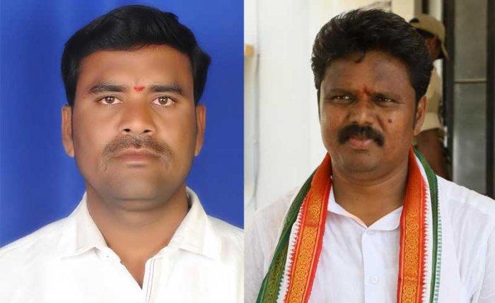 Hagaribommanahalli MLA Bheema Naik and Raichur Rural MLA Basangouda Daddal. DH file photos.