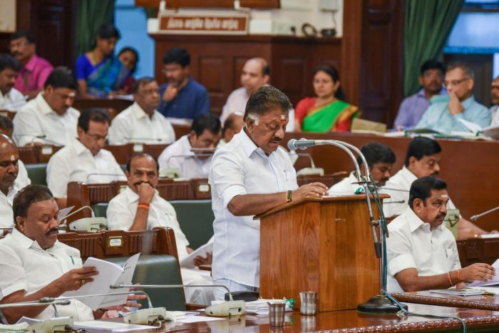 Tamil Nadu Deputy Chief Minister and Finance Minister O Panneerselvam presents the state budget for 2020-21 at Assembly in Chennai, Friday, Feb. 14, 2020. (PTI Photo)