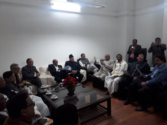 The opposition leaders demanded the poll panel ensure that 50 per cent of EVM results are matched and cross-checked with voter-verifiable paper audit trails (VVPATs) before the declaration of results in the upcoming Lok Sabha elections. (DH Photo)
