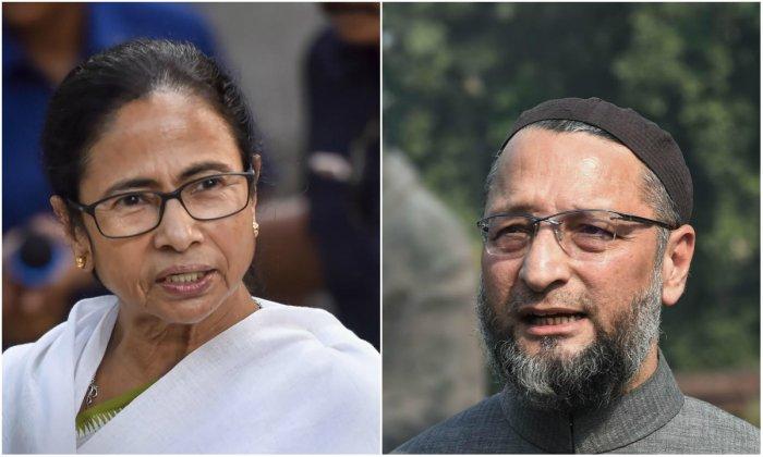 West Bengal chief Minister Mamata Banerjee (L) and All India Majlis-e- Ittehad-ul- Muslimeen President Asaduddin Owaisi (R) (PTI Photos)