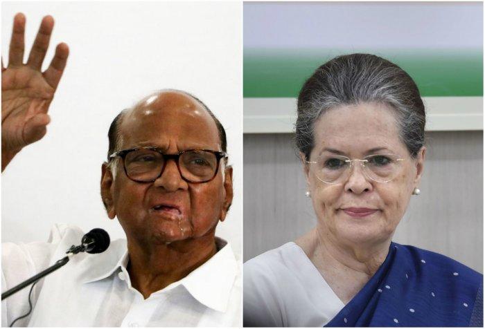 NCP Supremo Sharad Pawar (L) and Congress President Sonia Gandhi (R)