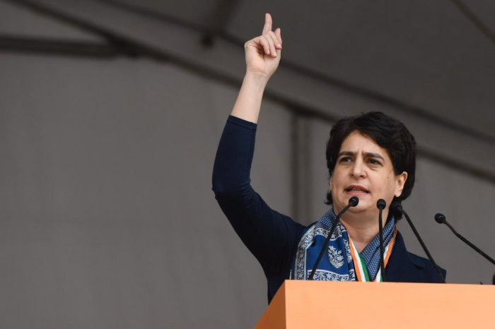 """""""The fact is under the BJP, it is possible that onion sells Rs 100 a kilo, it's possible that unemployment is highest in 45 years, it is possible to destroy 4 crore jobs. If the BJP is there, it is possible that 15,000 farmers commit suicide,"""" said Congress leader Priyanka Gandhi Vadra.Photo/Twitter (@INCIndia)"""