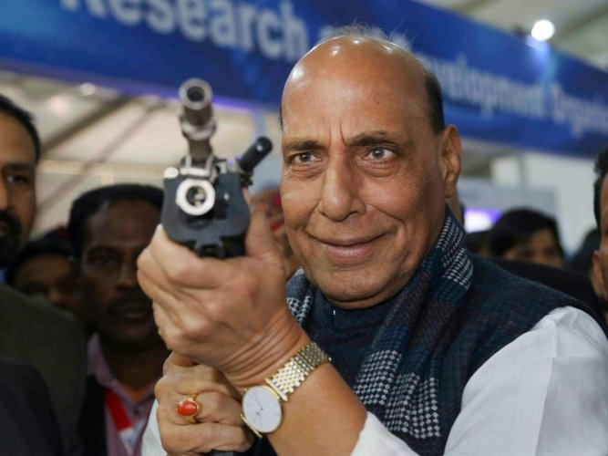 """Defence Minister Rajnath Singh is slated to """"perform the 'bhoomipujan' (ground-breaking) ceremony"""" on Friday for the construction of the new 'Sena Bhawan'. PTI file photo"""