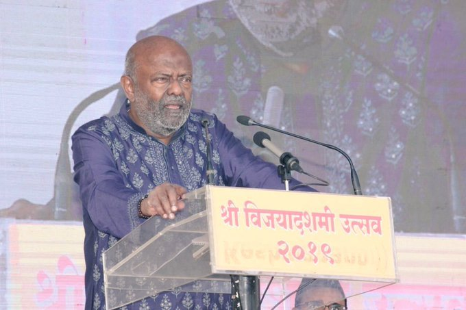 The country faces many challenges, but the government alone cannot solve the problems. The private sector, citizens, NGOs must also contribute to overcoming these challenges, saidNadar, the chief guest at the Sangh's annual Dussehra event this year. Photo/Twitter