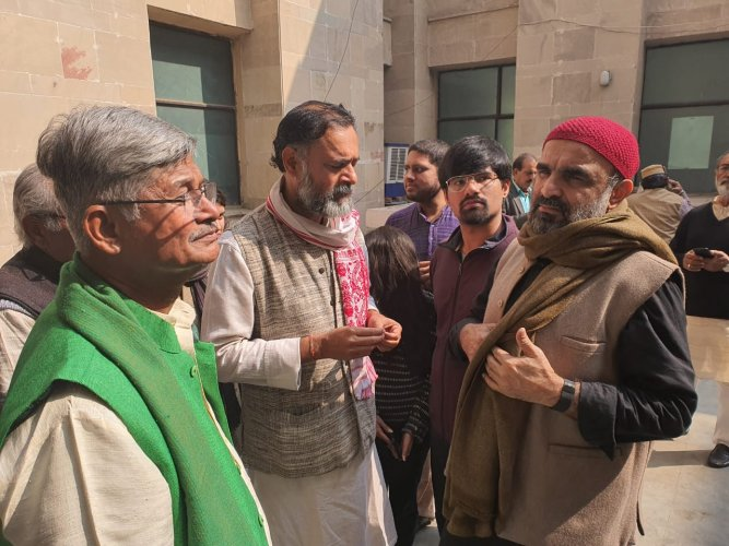 """""""Permission was taken for the Yatra. But, the police all of a sudden denied permission yesterday. The participants of Yatra were misbehaved (with), detained and taken to Mandir Marg police station,"""" Yadav said in a tweet. Credit: Twitter (@_YogendraYadav)"""