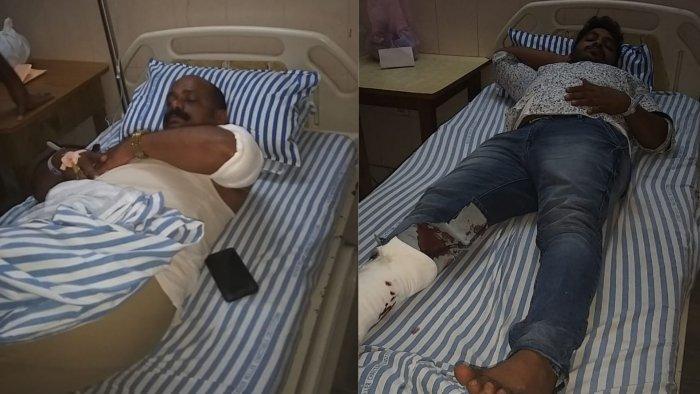 Head constable Sheenappa undergoing treatment (L). Injured rowdy sheeter Gourish (R).