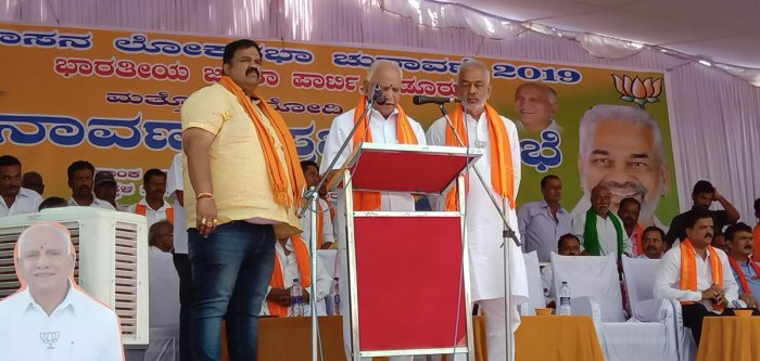 State BJP president and former chief minister B S Yeddyurappa speaks at a public campaign meeting in Kadur.