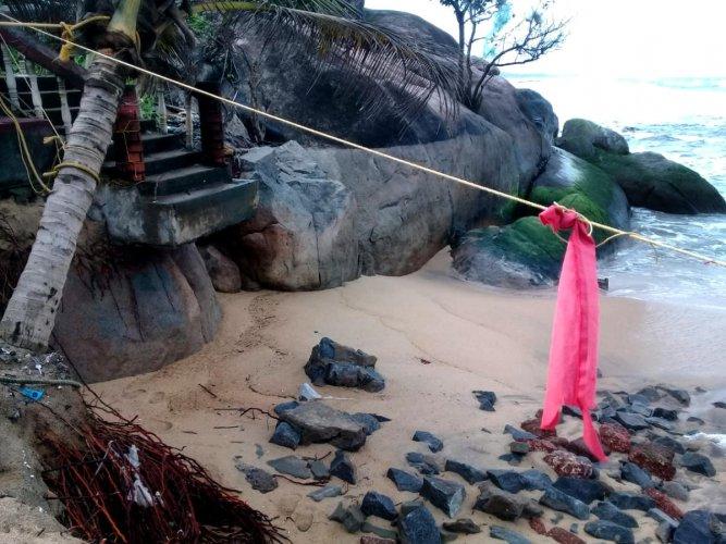 Steps leading to Someshwara temple was damaged in sea erosion at Someshwara.