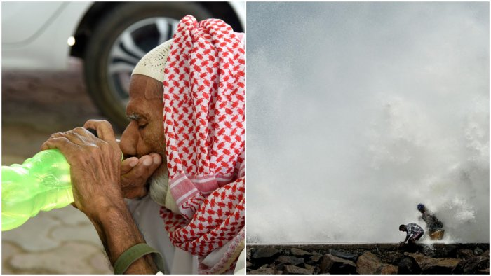 A man quenches his thirst on a hot summer day, in Bikaner (L)   Cyclone Amphan barrels towards India's eastern coast (R) (PTI Photo)