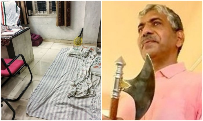 Picture of office room posted by Jacob Thomas on social media (left) Jacob Thomas with an axe on last day- (TV grab) (right)