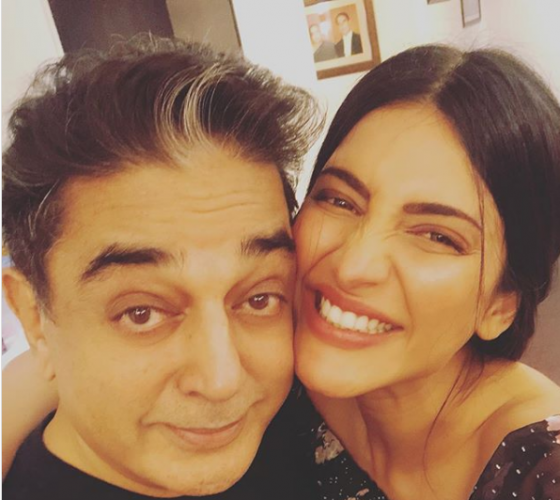 Kamal with daughter Shruti Haasan. Credit: Instagram/ShrutiHaasan