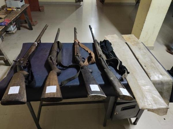 Weapons recovered from eight suspected poachers in Assam on Tuesday. (Photo credit: Assam Police)
