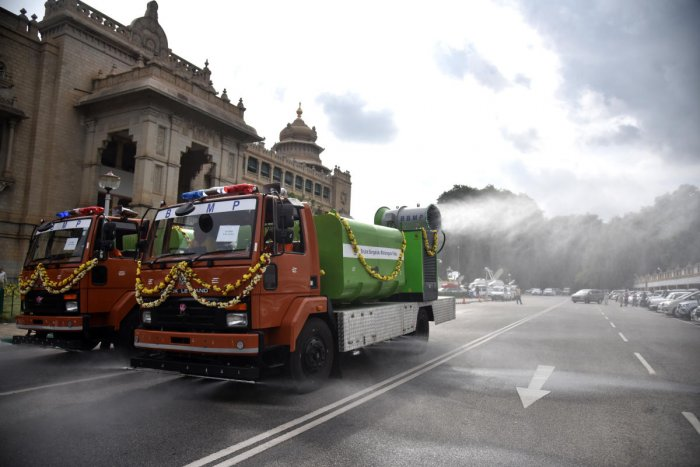 New Mist Cannon Machine is launched in front of Vidhana Soudha, it help to control Corona virus, the truck is filled with disinfectant mixed water and this disinfectant is sprayed in the air, it protected by corona virus, by BBMP in Bengaluru on Monday, 29 June 2020. DH Photo by S K Dinesh