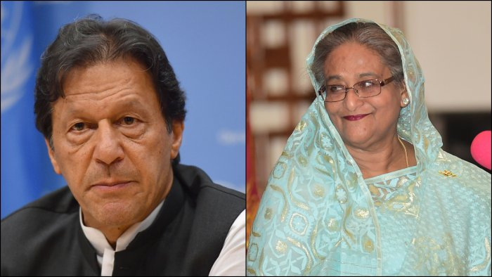 Sources pointed out that the rare phone-call between Hasina and Khan happened almost three weeks after Bangladesh Foreign Minister A K Abdul Momen had a meeting with Islamabad's envoy to Dhaka, Imran Ahmed Siddiqui, on July 1. Credit: Reuters Photos