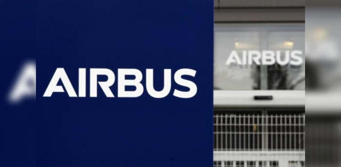 Logo of European aircraft manufacturer Airbus outside the entrance of the site of Airbus' Wings Campus in Blagnac. Credit: AFP Photo