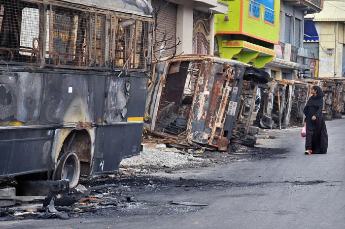 As many as 33 government and 109 private vehicles were completely burnt or extensively damaged. DH FILE/Pushkar V