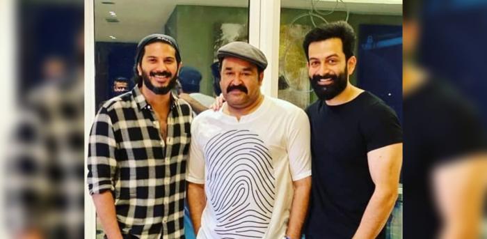 Dulquer Salmaan, Mohanlal and Prithviraj. Credit: Instagram/SupriyaMenon