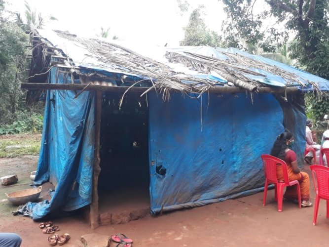 A couple, Vasu and Usha, were living in a plastic sheet tent at Belthangady.